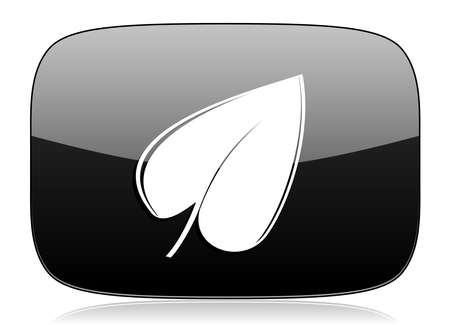 application recycle: leaf black glossy web modern icon