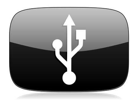 usb pendrive: usb black glossy web modern icon