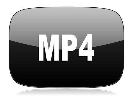 mp4: mp4 black glossy web modern icon Stock Photo