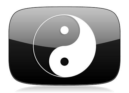 karma graphics: ying yang black glossy web modern icon