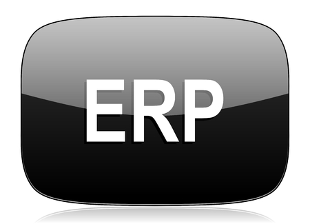 erp: erp black glossy web modern icon Stock Photo