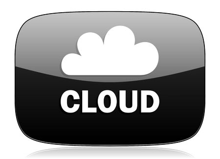 cloud computer: cloud black glossy web modern icon