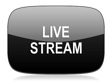 live stream tv: live stream black glossy web modern icon