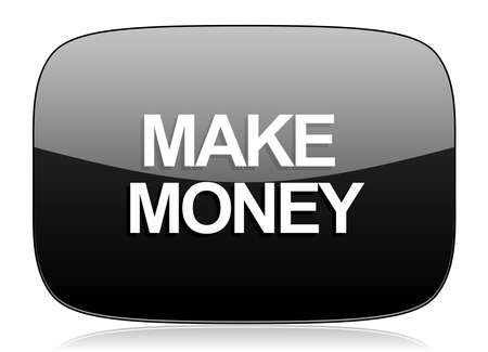 make money: make money black glossy web modern icon
