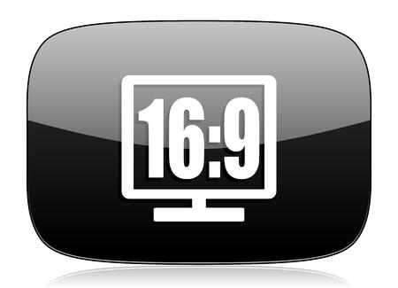 16 9: 16 9 display black glossy web modern icon Stock Photo