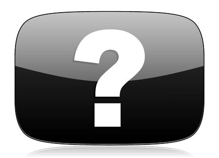 inquiry: question mark black glossy web modern icon Stock Photo