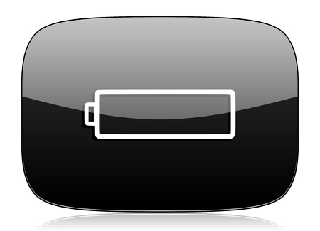 accuse: battery black glossy web modern icon