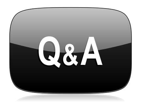 question and answer: question answer black glossy web modern icon