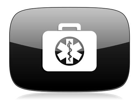 first aid kit key: rescue kit black glossy web modern icon Stock Photo