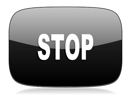 proscribed: stop black glossy web modern icon