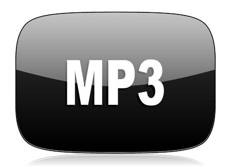 reading app: mp3 black glossy web modern icon