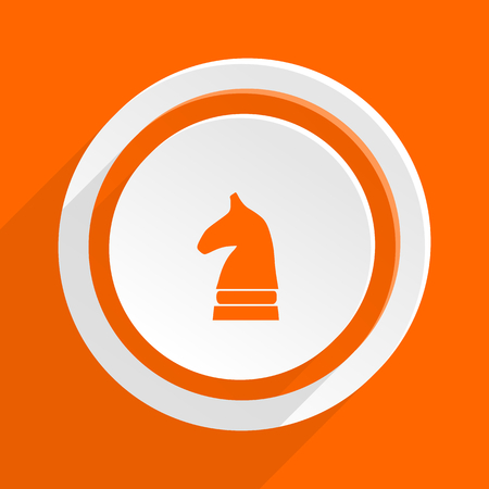 chess horse: chess horse orange flat design modern icon for web and mobile app