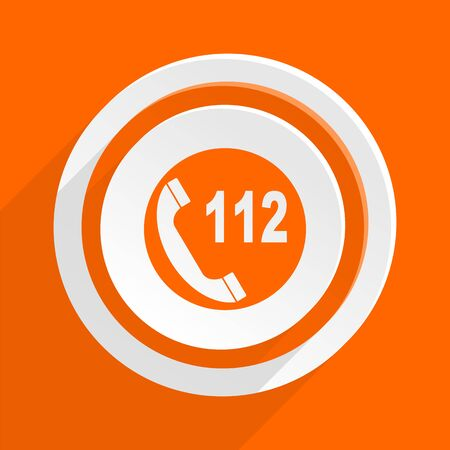 emergency call: emergency call orange flat design modern icon for web and mobile app