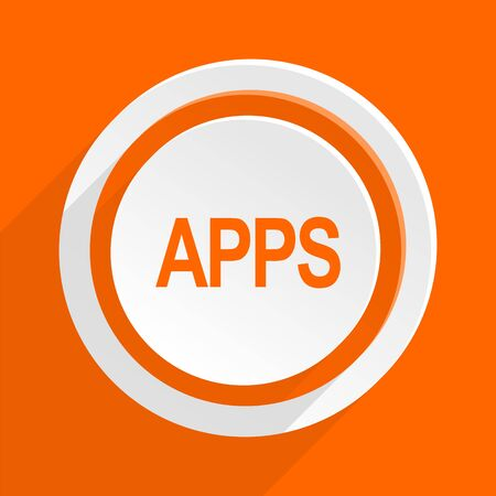 mobile apps: apps orange flat design modern icon for web and mobile app