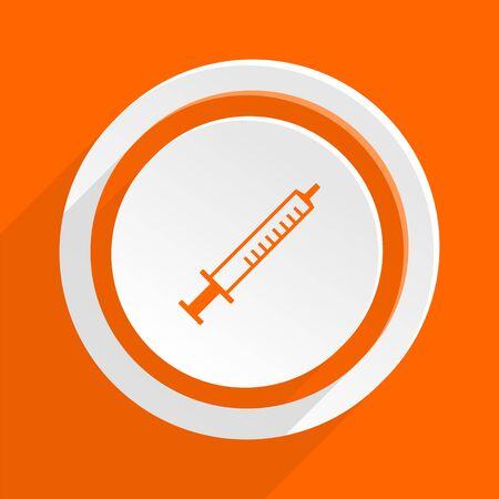 flu shot: medicine orange flat design modern icon for web and mobile app Stock Photo