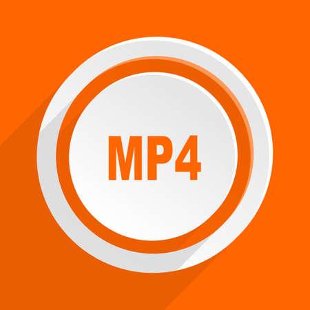 mp4: mp4 orange flat design modern icon for web and mobile app