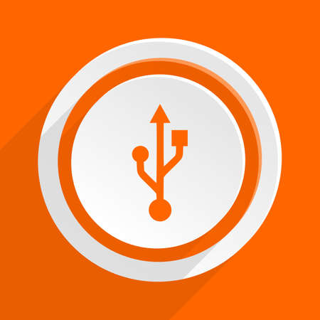 usb pendrive: usb orange flat design modern icon for web and mobile app