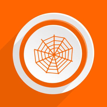 spiderweb: spider web orange flat design modern icon for web and mobile app Stock Photo