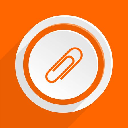paperclip: paperclip orange flat design modern icon for web and mobile app