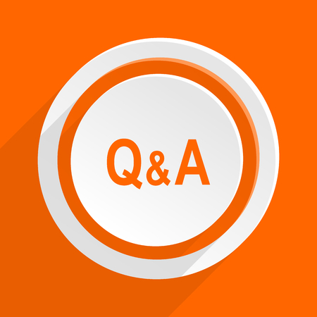 question and answer: question answer orange flat design modern icon for web and mobile app