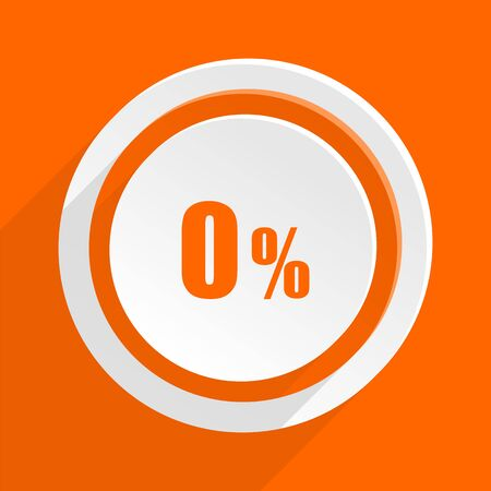 commission: 0 percent orange flat design modern icon for web and mobile app