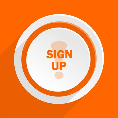 subscribing: sign up orange flat design modern icon for web and mobile app Stock Photo