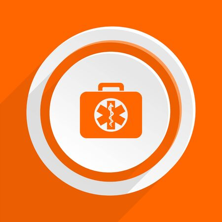 first aid kit key: rescue kit orange flat design modern icon for web and mobile app Stock Photo