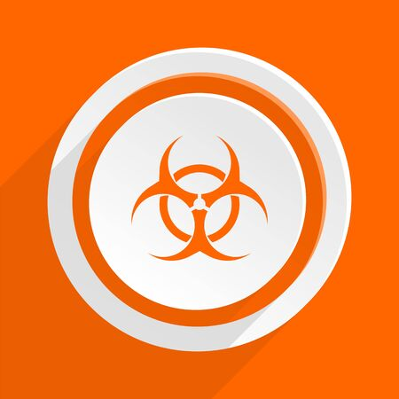 bacterioa: biohazard orange flat design modern icon for web and mobile app Stock Photo