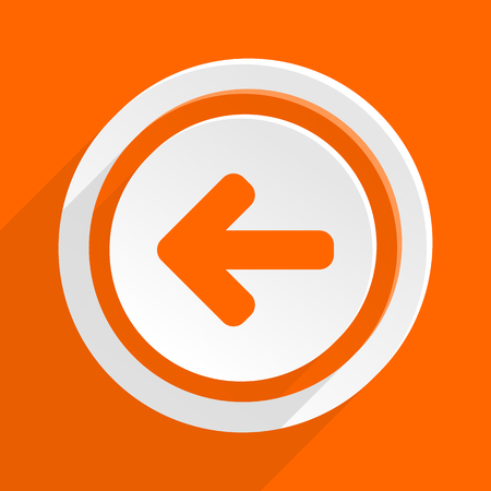 move backward: left arrow orange flat design modern icon for web and mobile app Stock Photo