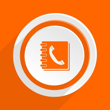 phonebook: phonebook orange flat design modern icon for web and mobile app