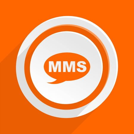mms: mms orange flat design modern icon for web and mobile app