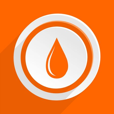 drinkable: water drop orange flat design modern icon for web and mobile app