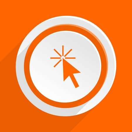 recommend: click here orange flat design modern icon for web and mobile app