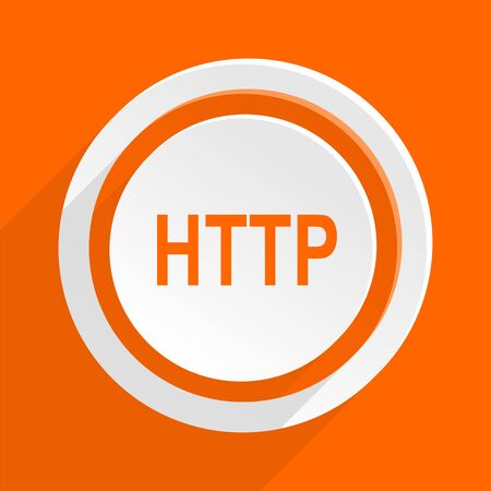 http: http orange flat design modern icon for web and mobile app Stock Photo