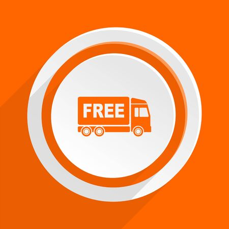 complimentary: free delivery orange flat design modern icon for web and mobile app