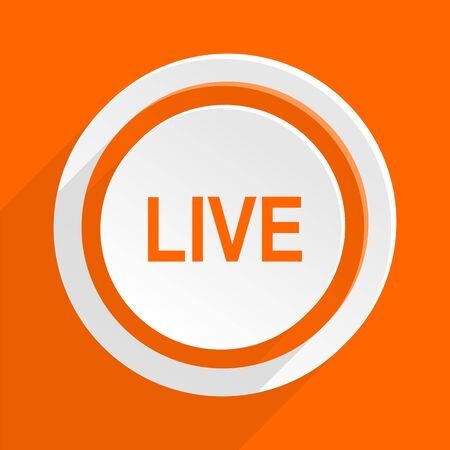 news cast: live orange flat design modern icon for web and mobile app Stock Photo