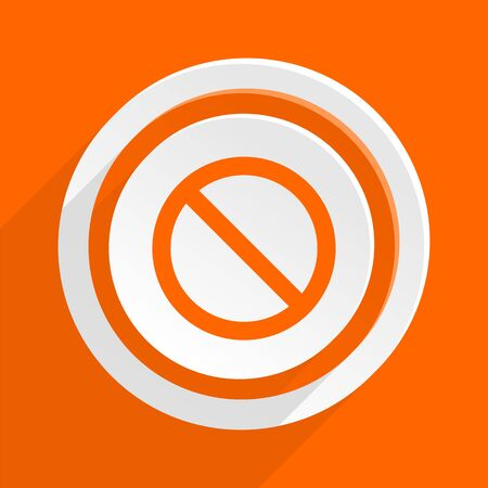 entrance is forbidden: access denied orange flat design modern icon for web and mobile app