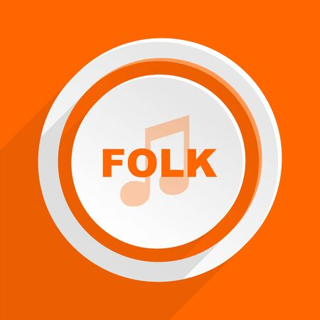 folk music: folk music orange flat design modern icon for web and mobile app Stock Photo