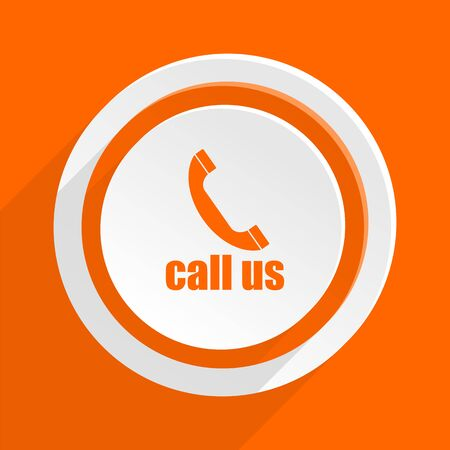 call us: call us orange flat design modern icon for web and mobile app