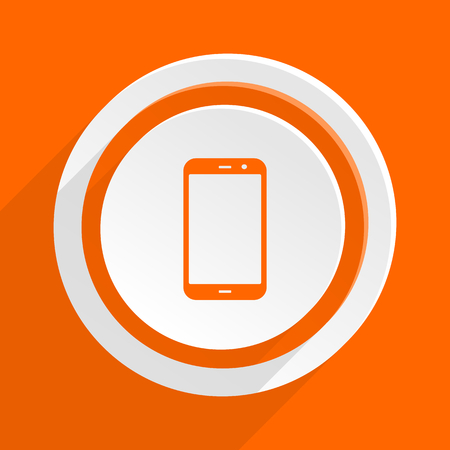 smartphone icon: smartphone orange flat design modern icon for web and mobile app