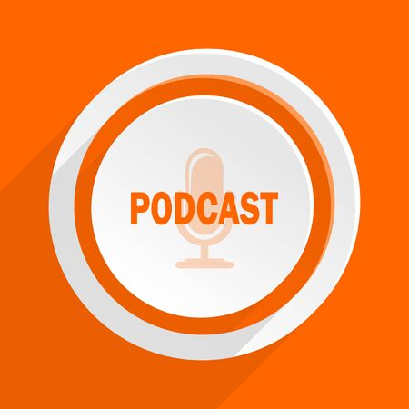 podcast orange flat design modern icon for web and mobile app