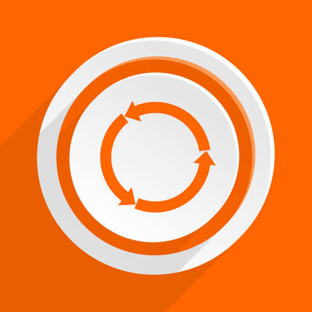 application recycle: refresh orange flat design modern icon for web and mobile app