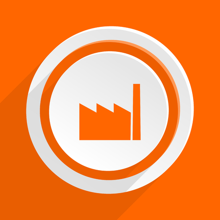 industrialist: factory orange flat design modern icon for web and mobile app Stock Photo