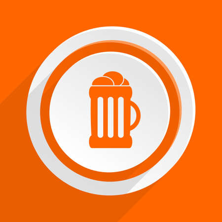 bierglas: beer orange flat design modern icon for web and mobile app Stock Photo