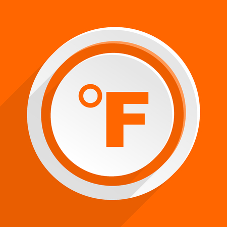 fahrenheit: fahrenheit orange flat design modern icon for web and mobile app Stock Photo