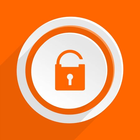 trusty: padlock orange flat design modern icon for web and mobile app