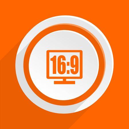 16 9 display: 16 9 display orange flat design modern icon for web and mobile app