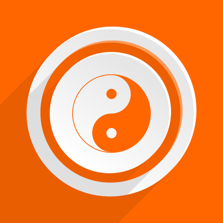 ying and yang: ying yang orange flat design modern icon for web and mobile app