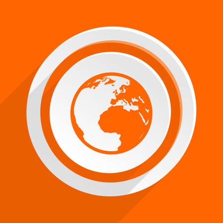 parallels: earth orange flat design modern icon for web and mobile app Stock Photo