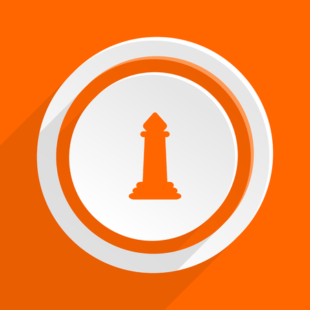 king master: chess orange flat design modern icon for web and mobile app
